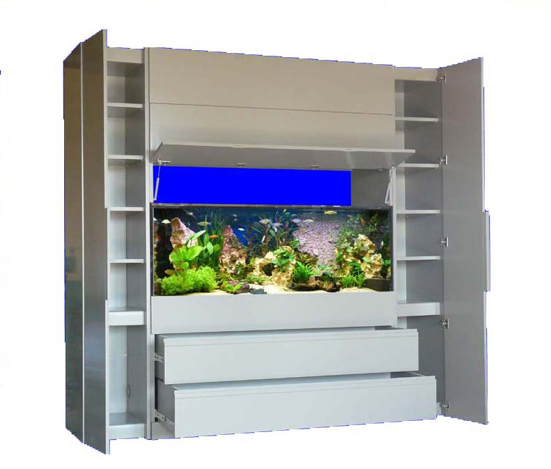 Meuble aquarium gris for Aquarium avec meuble