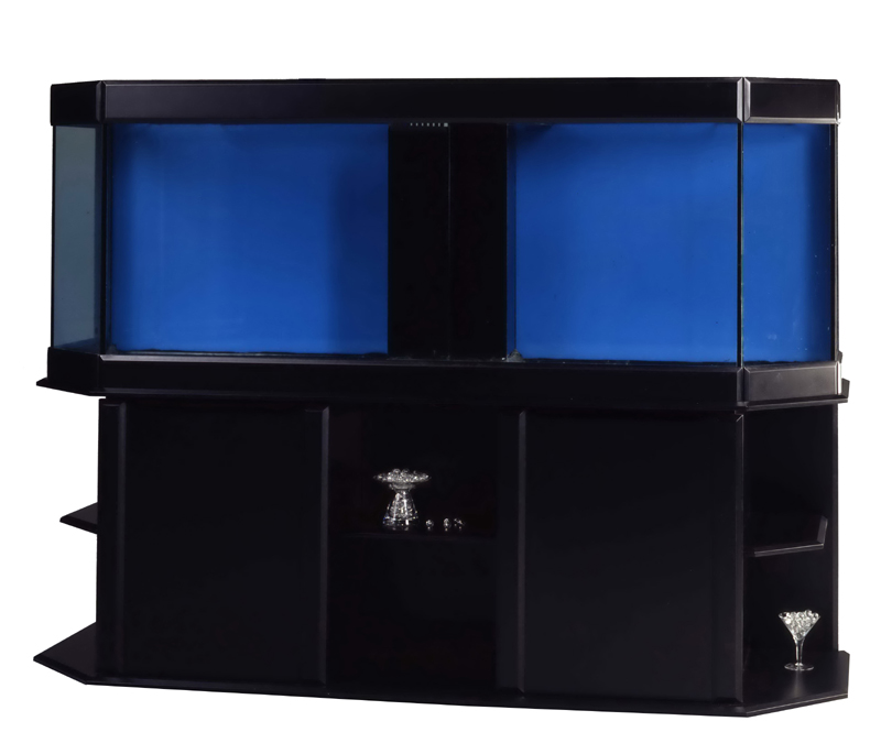 Meuble aquarium noir laqu for Aquarium eau douce pas cher